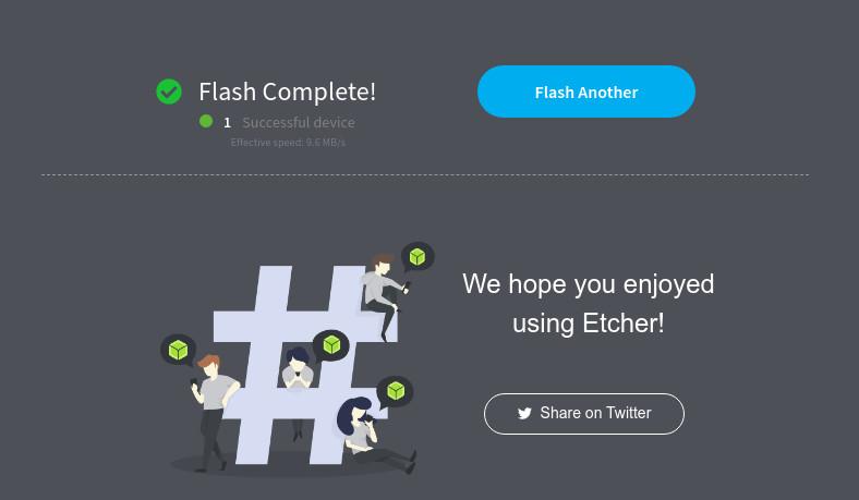 Программа Etcher Запись образа на флешку - окончание процесса