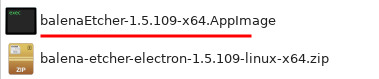 Программа Etcher запускаем Appimage