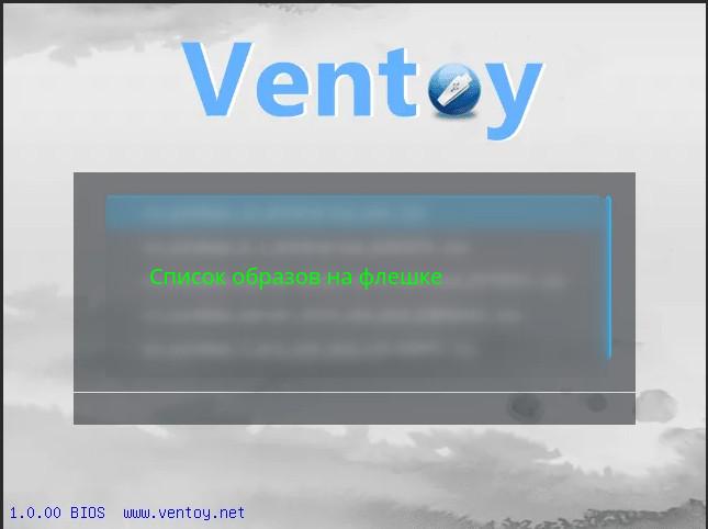 загрузочное меню флешки Ventoy