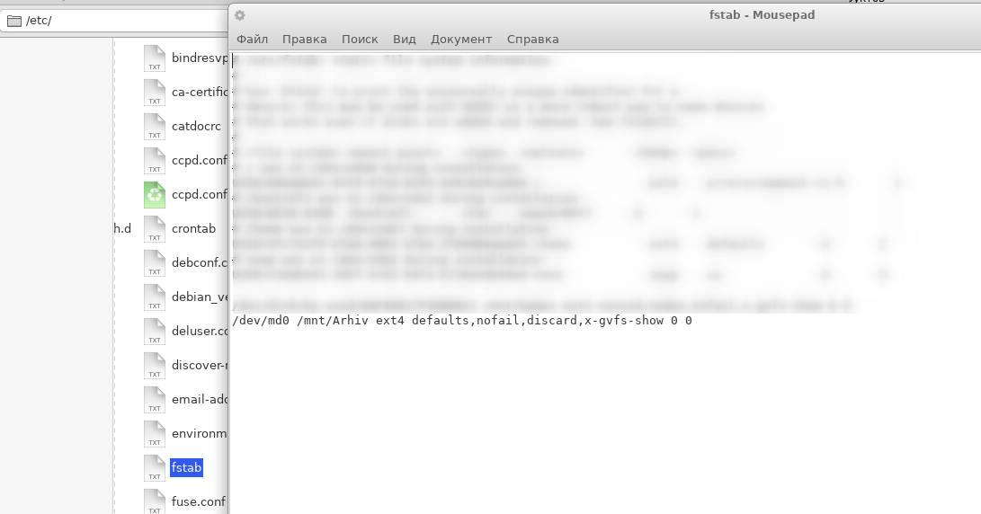 запись о RAID в файле fstab