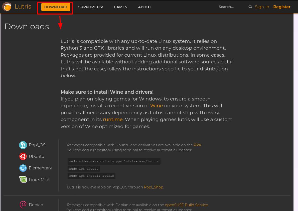 игры в linux через приложение Litris